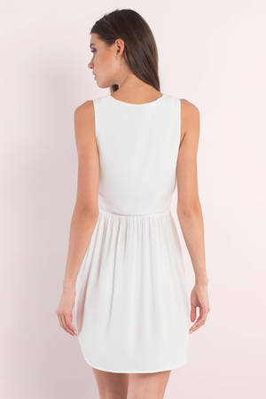 70ab22b25a Cute White Shift Dress - Deep V Plunging Dress - Sleeveless Dress ...