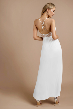 da8675cc90 White Maxi Dress - Lace Trim Dress - Plunging White Maxi Dress - AU ...