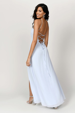 Light Blue Maxi Dress - Halter Dress