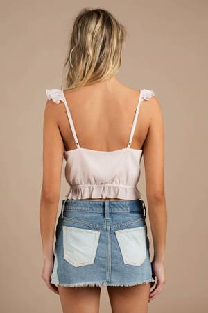 d993d4ff9fa Short Blue Skirt - Two Tone Denim Skirt - Blue Free People Skirt ...