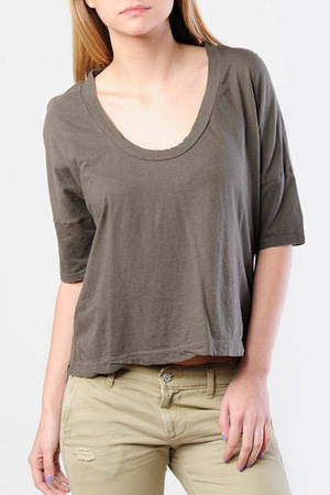 5e4fd46bffd Brown James Perse Tee - Scoop Neck Tee - Brown Boxy T Shirt - $31 ...