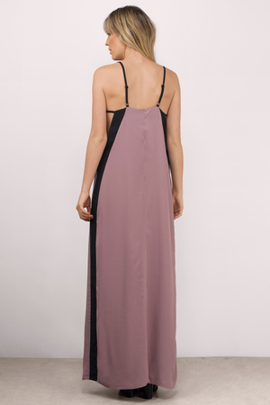 Mauve Maxi Dress - Colorblock Dress - Purple Dress - Country Maxi ...