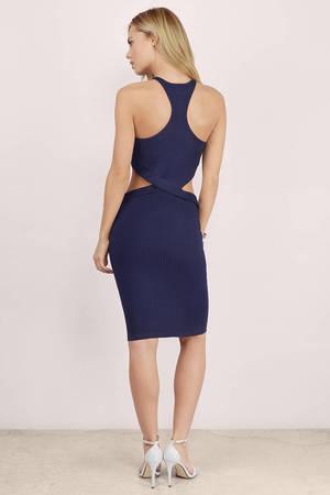 eb1cf25ee81 Navy Midi Dress - Blue Dress - Cut Out Dress - Blue Midi Dress - kr ...