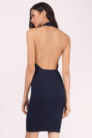 1544ba68ee26e1 Navy Dress - Backless Dress - Backless Sheath Dress - Midi Dress ...