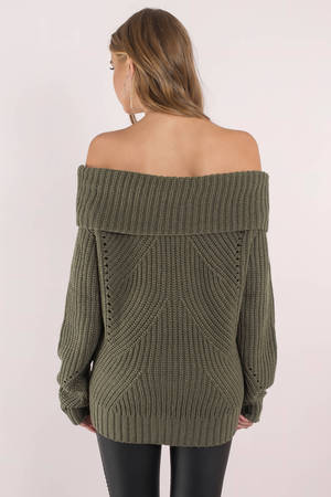 406a647c2e81c6 Olive Green Sweater - Off Shoulder Sweater - Olive Green Foldover ...