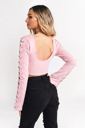 18b53fe9733 Pink Crop Top - Low Back Top - Pink Lace Up Top - € 15 | Tobi IE