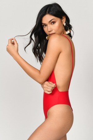 b19a510c645b Red One Piece - Plunging One Piece - Red Low Back One Piece - C$ 14 ...