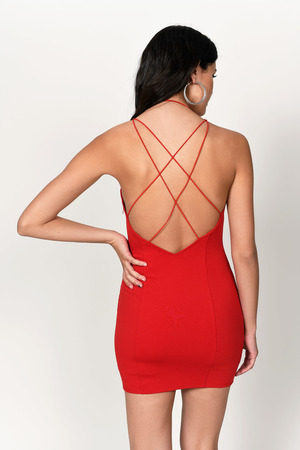 6da8de43d8ac Red Bodycon Dress - Plunging Neckline Bodycon - Red Cocktail Dress ...