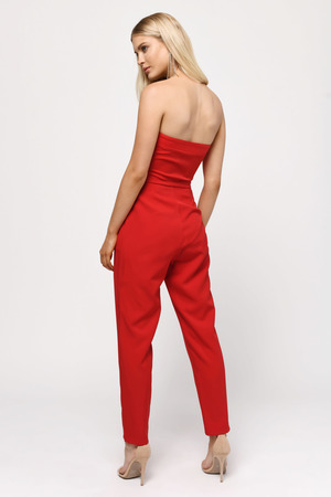ea5f98cd8a7 Red Jumpsuit - Strapless Jumpsuit - Red Tight Jumpsuit - € 16