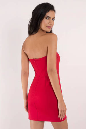 bc389f4ecba Cute Dress - Strapless Dress - Open Back - Red Bodycon Dress - C  41 ...