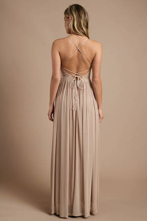 b929b64020b Beige Maxi Dress - Plunging Maxi Dress - Elegant Champagne Dress - C ...