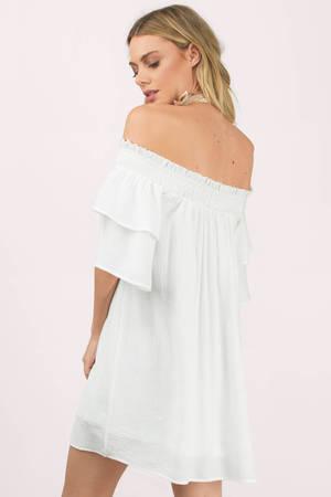 b1d24a26a127 White Shift Dress - Off Shoulder Dress - Hippie White Dress - Day ...