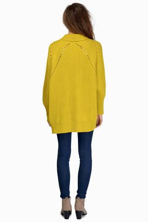 Cute Yellow Cardigan - Draped Cardigan - Yellow Cardigan - S$ 31 ...