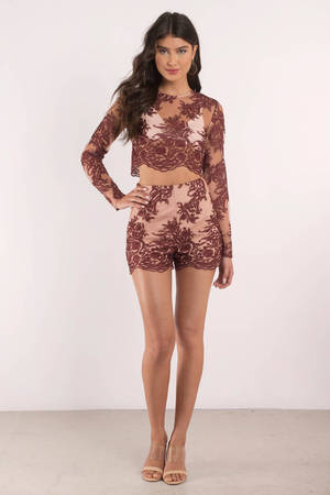 Finders Spectral Lace Long Sleeve Dress - Berry Finders Keepers sEhRrYZj98