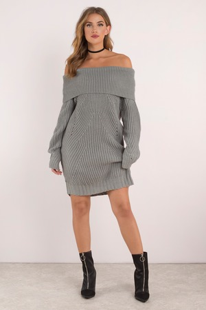 Cute Blue Dress - Off Shoulder Dress - Long Sleeve Dress - S$ 124 ...