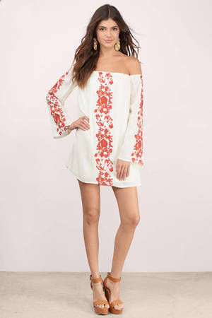 069f786cd5ce Cream   Rust Dress - Off Shoulder Dress - White Embroidered Top - C ...