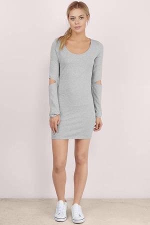 874ad15cc10d Trendy Grey Bodycon Dress - Cut Out Dress - Bodycon Dress - C$ 15 ...