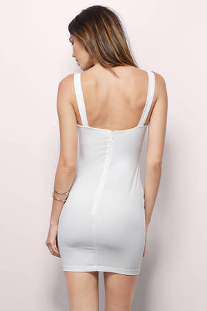f0251b39a84 Pretty White Bodycon Dress - Tank Dress - Plunge Dress - £16