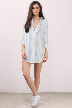6ca6afd0e41 Trendy Light Blue Multi Day Dress - Button Front Dress - Day Dress ...