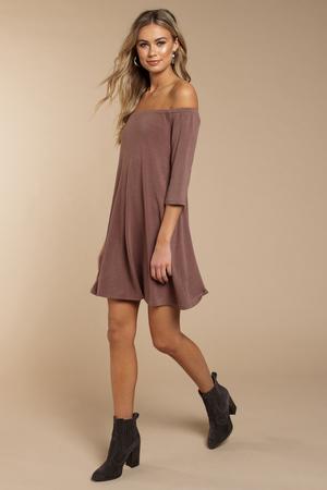 94e6888178cd Purple Shift Dress - Off Shoulder Dress - Long Sleeve Dress - S  27 ...