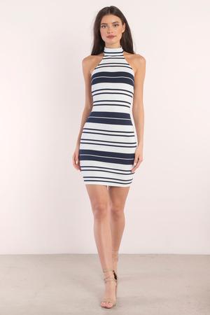a3d1281d275cb4 Navy Blue Midi Dress - Backless Dress - Halter Bodycon Dress ...