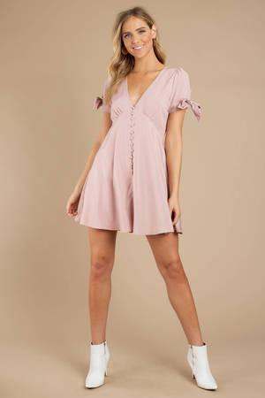 282617baef Pink Dress - Button Up Dress - Pink Polka Dot Dress - £82