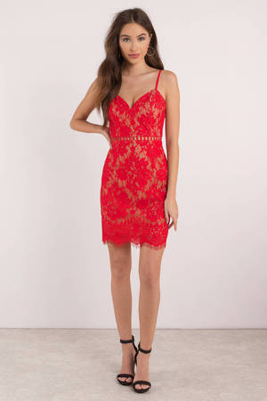 c774d02475f4 Cute Bodycon Dress - Lace Dress - Red Dress - Red Bodycon - £25 ...