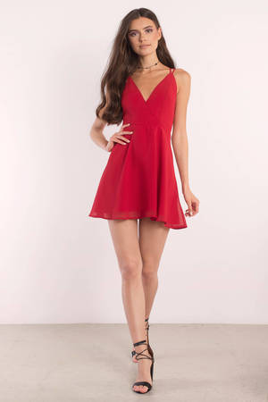aee1a770da Red Skater Dress - Strappy Back Dress - Red Dress - Skater Dress ...