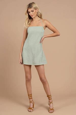 e45fd163 Green Capulet Shift Dress - Gingham Dress - Green Halter Dress - C ...
