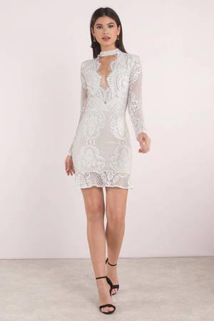 426e0694c61 White Bodycon Dress - Lace Choker Dress - White Long Sleeve Bodycon ...