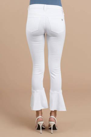 e405e6e521a White Black Orchid Pants - Ruffle Pants - Tight White Cropped Pants ...