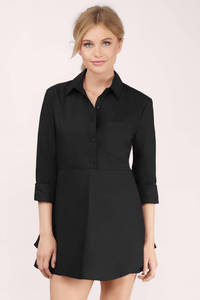 Cheap Black Day Dress - Black Dress - Shirt Dress - $12.00