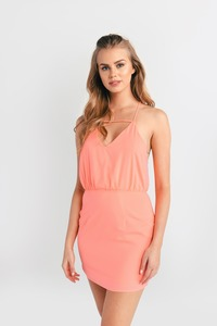 Cute Neon Coral Bodycon Dress - Orange Dress - V Neck Dress - $12.00